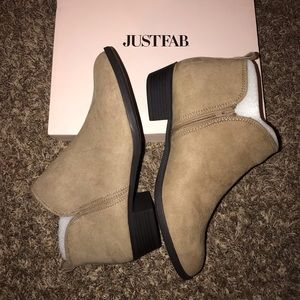 Tan ankle booties.